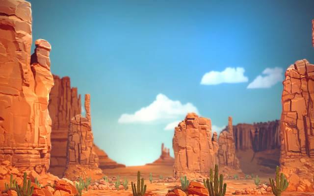 景观,岩石,峡谷,石头,仙人掌