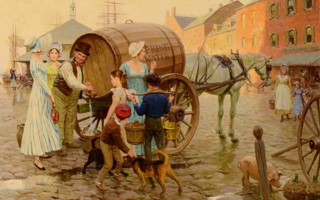 狗,图片,泉水供应商,流派,桶,儿童,人民,城市,街道,水,汤姆·洛弗尔