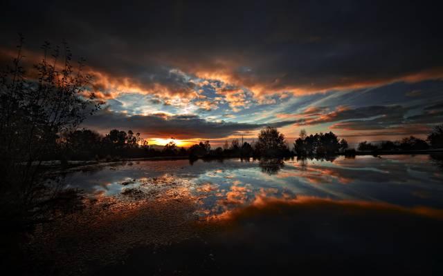 湖,夜,景观,性质