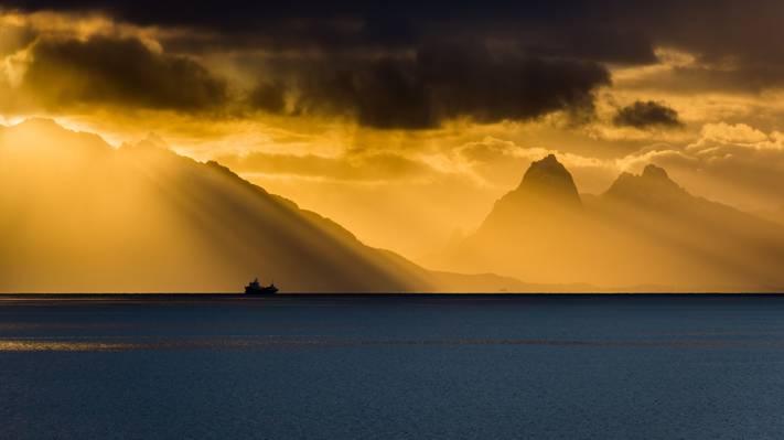 船,光,挪威,海,Grytting,挪威,地平线,诺德兰,云