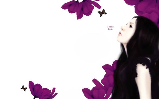 花,我想念你,我想念你,女孩,长发,Enakei,题词