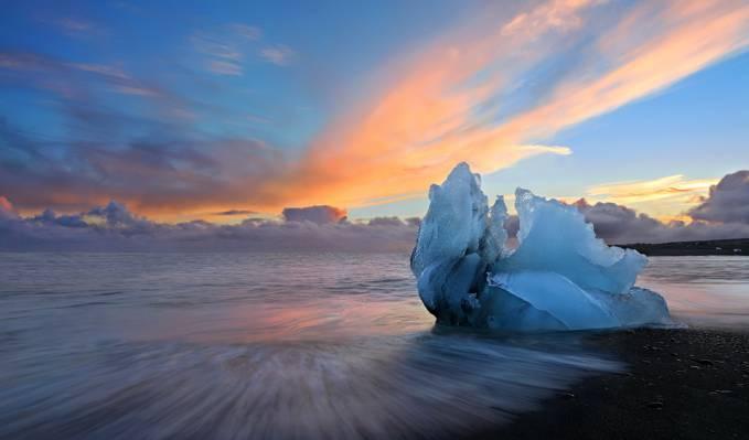海,冰,日落