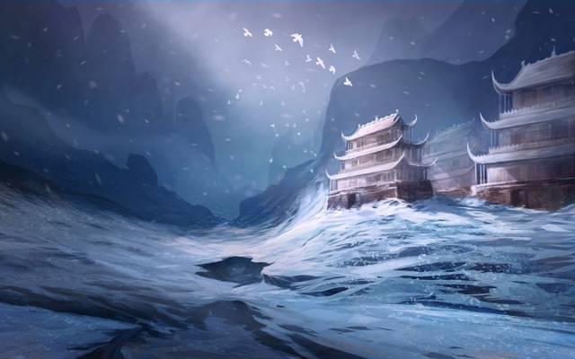 寺,鸟,亚洲,雪,艺术,冬天