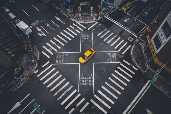 街,机,标记,台北,十字路口,出租车