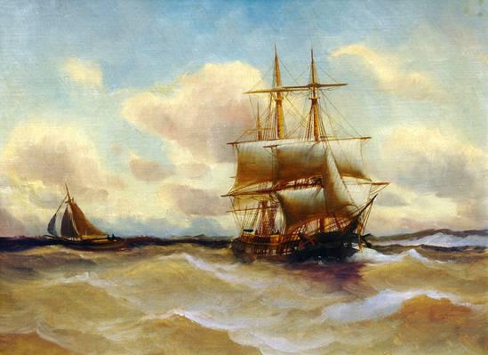 图片,船,船,风暴,阿尔弗雷德詹森,海,波浪,风帆,天空,风景