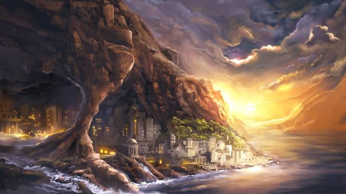 石窟,艺术,海岸,城市,海洋,灯光,岩石,河流