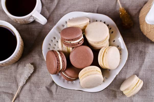 咖啡杯,饼干,蛋白杏仁饼干,奶油,甜,马卡龙,杏仁,咖啡,饼干,甜点,杯子,蛋糕