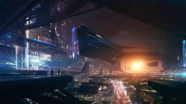 船,艺术,人,城市,灯,太阳,未来,星星,高度,日落