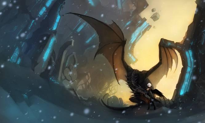雪,翅膀,魔术,艺术,废墟,龙,图,女孩,石头