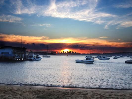 日落,悉尼高清壁纸上的白色小船