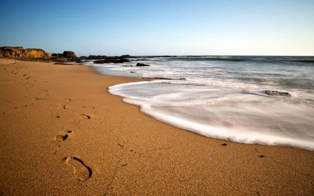 岸,一天,海岸,沙滩,海,蓝色,天空,痕迹