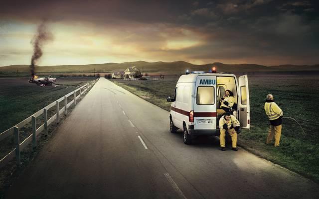 碰撞,救护车,医疗服务,道路