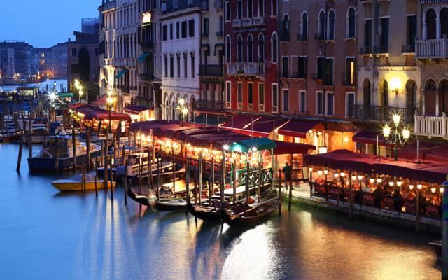 威尼斯,意大利,家,咖啡馆,人,船,通道,晚上,建筑,威尼斯,灯,意大利