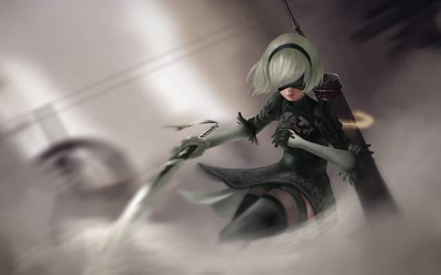 艺术,NieR:自动机,机器人,剑,女孩,YoRHa二号B型,尼尔