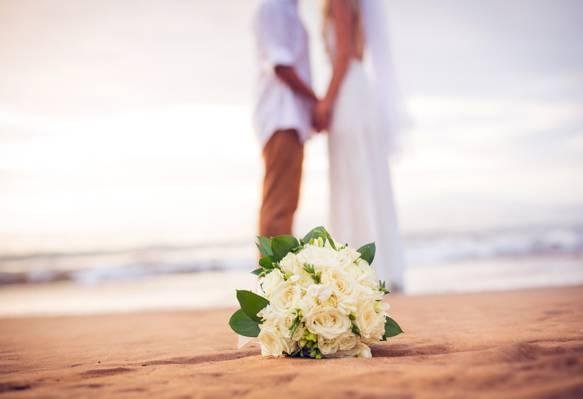 花,海滩,海,婚纱,花束,情侣,婚礼,只是结婚