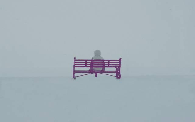 雾,人,长凳,心情