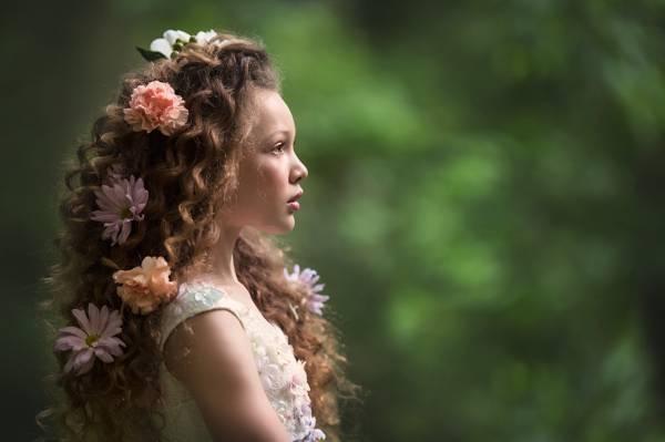 女孩,鲜花,心情,卷发,背景,头发