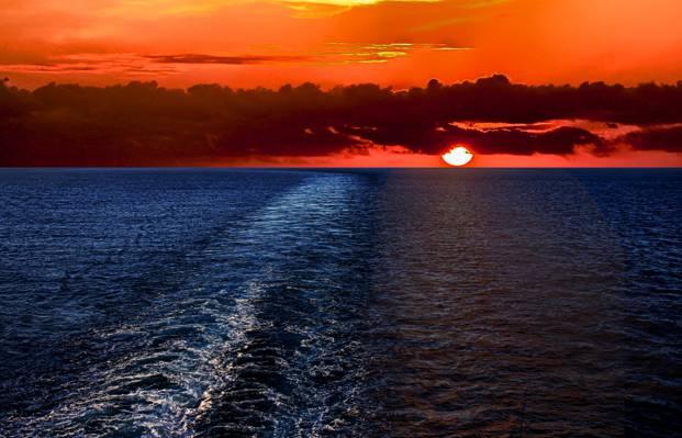 海,景观,自然,太阳,天空,云,日落