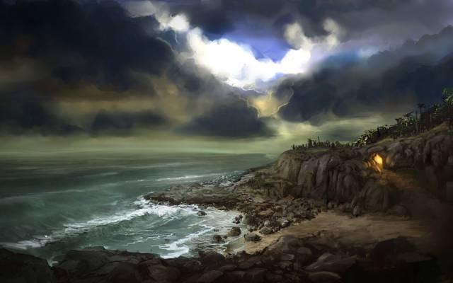 云,小径,艺术,火,湾,海,岩石,洞穴,轨道,石头,火