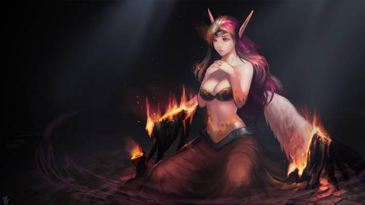 女孩,翅膀,艺术,恶魔,Morgana,英雄联盟,火