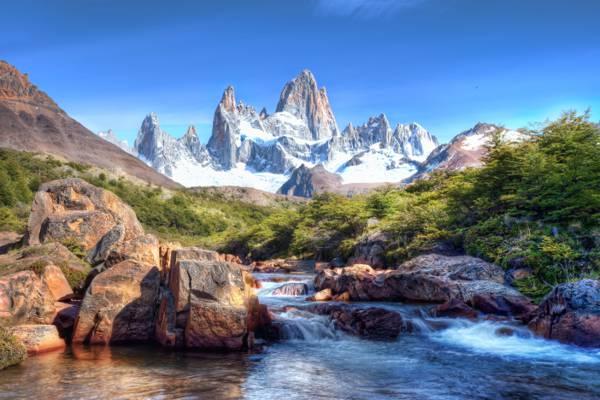 水在白天的照片,阿根廷高清壁纸绿叶树附近瀑布
