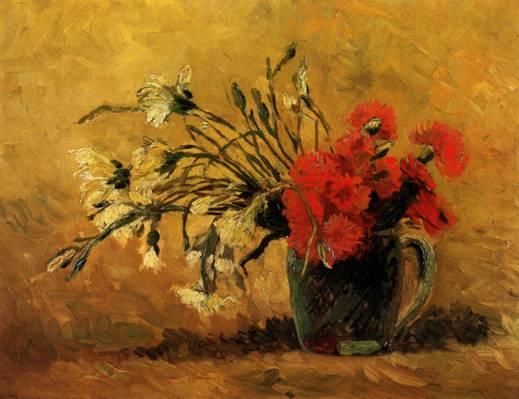 花瓶,梵高,文森特,图片,面包车,鲜花,红色,丁香