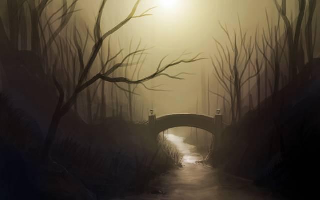彩绘的景观,桥梁,河流,艺术,树木