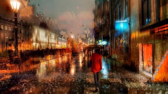 一個人在雨中的背影