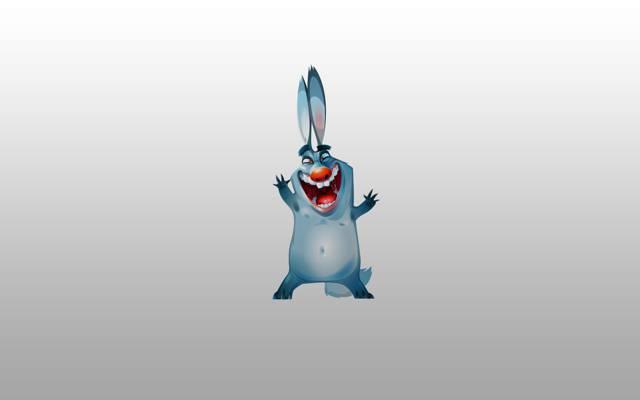 极简主义,汤,兔子,兔子,快乐,红鼻子,野兔,蓝色