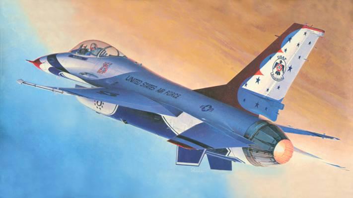 艺术,飞机,第四,通用动力,一代,战斗机,公司,多功能,美国,F-16,容易,发达,战斗...