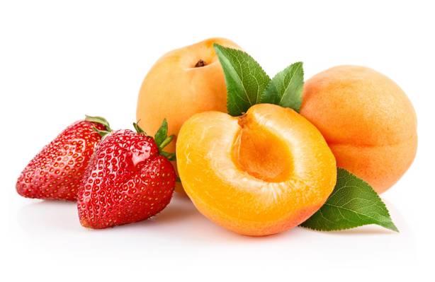 桃,水果,食物,草莓