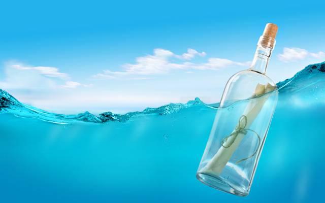 瓶,管,消息在一个瓶子里,信,消息,海,水,绳子
