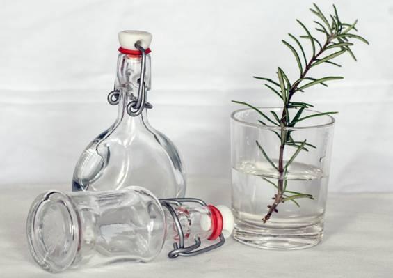 两个清澈的玻璃酒瓶和绿色的植物和水清晰的饮用水杯高清壁纸