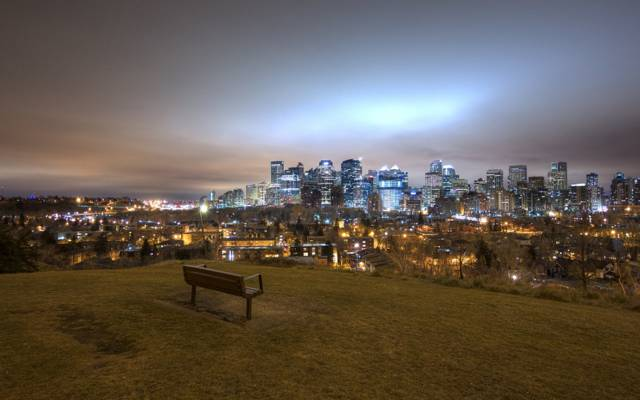 灯,晚上,全景,卡尔加里,板凳,加拿大,景观