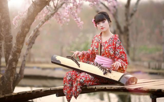 女孩,音乐,亚洲人
