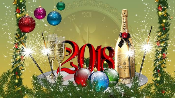图形,树,新的一年,球,2018年,香槟