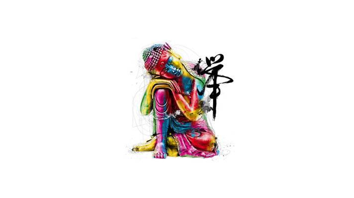 佛,油漆,字符,和平