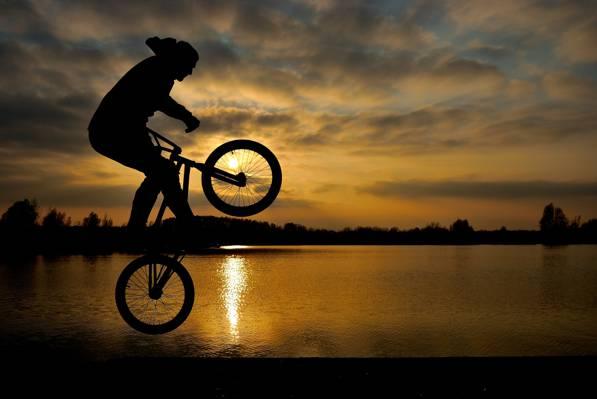 壁纸的人,湖,伟大,云,日落,跳跃