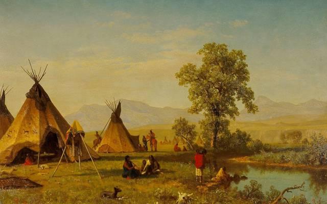 图片,棚屋,靠近拉勒米堡的苏族村庄,景观,阿尔伯特·比尔施塔特