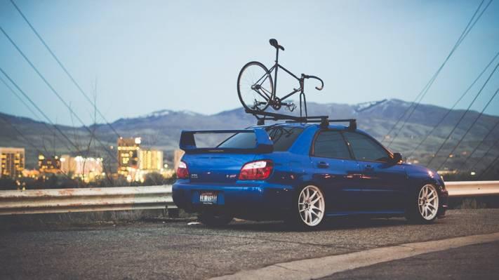 自行车,蓝色,山,墙,家,道路,翼豹,wrx,impreza,斯巴鲁,机,汽车,斯巴鲁,体育