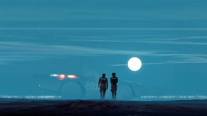 小说,坦克,艺术,太阳,警察,沙漠,球体
