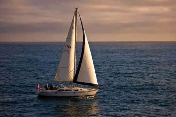 游艇,加利福尼亚州,太平洋,风帆,海洋,地平线,CA,太平洋