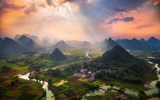 河,天空,丘陵,中国,村庄,家,山,光