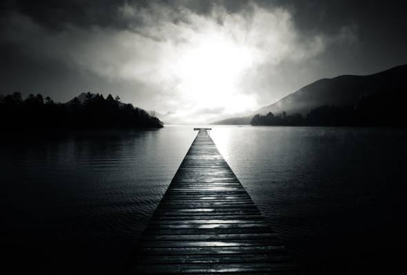 黑色和白色,匡,雾,穿孔,树木,董事会,湖,水,码头,丘陵