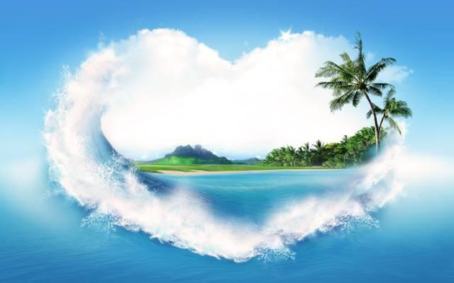 棕榈树,创意,心,岸,喷,海,沙,水