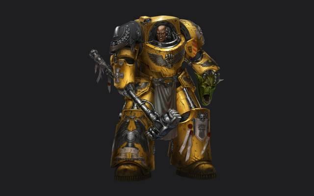 双头鹰,锤子,战锤40k,黄色,终结者装甲