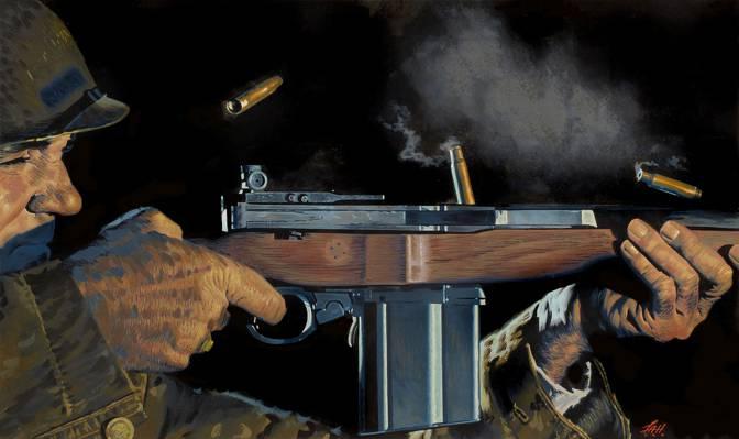 武器,袖子,艺术,步枪,士兵,勃朗宁M1918,自动