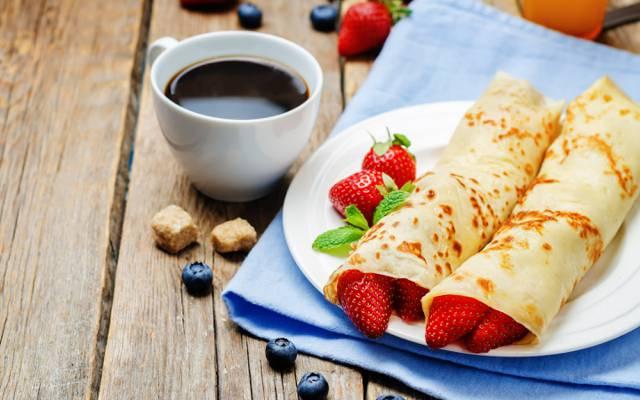 蓝莓,草莓,咖啡,早餐,煎饼,煎饼,浆果