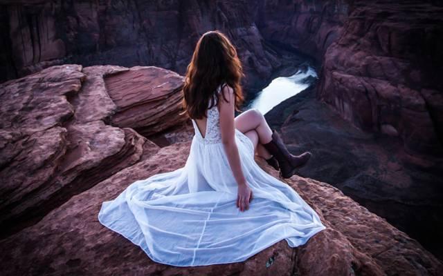 壁纸峡谷,河王座,女孩,查看,河流,高度