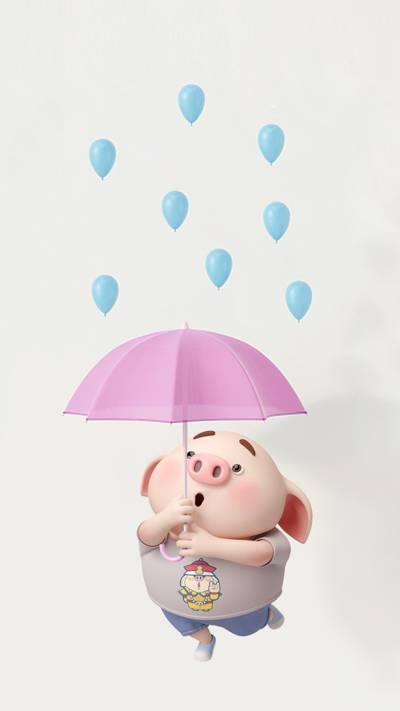 打伞的可爱猪小屁